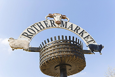 Rother Market sign, Rother Street, Stratford-upon-Avon, Warwickshire, England, United Kingdom, Europe