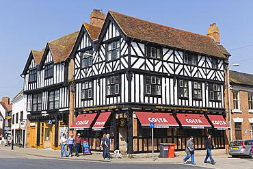 Half-timbered house, coffee house, Bridge Street, Stratford-upon-Avon, Warwickshire, England, United Kingdom, Europe