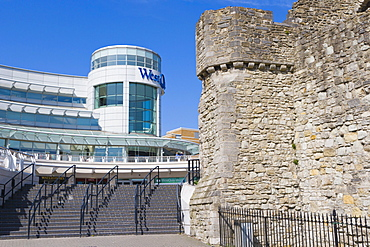 The Arundel Circus entrance to WestQuay Shopping Mall and Arundel Tower, medieval city walls, city centre, Southampton, Hampshire, England, United Kingdom, Europe