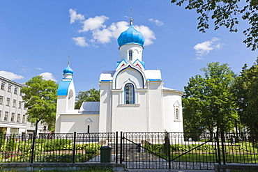 Aleksandra Nevska pareizticigo baznica, St Alexander Nevsky Orthodox Church, Chapel, Andreja Pumpura Darzs, Andrejs Pumpurs Garden, Daugavpils, Latgale, Latvia, Northern Europe
