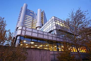 UniCredit HypoVereinsbank Munich headquarters in the evening light, Munich, Bavaria, Germany, Europe
