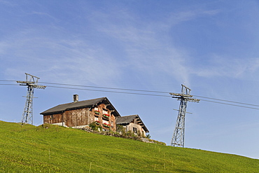 Obstruction of the alpine landscape, Braunwald, Glarus Alps, Canton Glarus, Switzerland, Europe