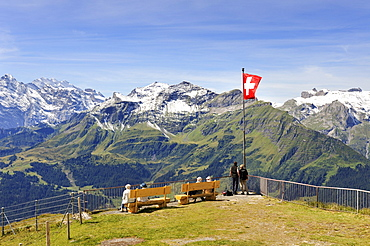 Viewing platform at the mountain top station of the 2334 metre high Maennlichen Mountain overlooking the 2973 metre high Schilthorn Mountain in the Bernese Alps, Canton of Bern, Switzerland, Europe