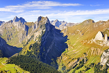 View from Mt. Furgglenfirst on Mt. Altman and Mt. Saentis in the Appenzell Alps, Canton Appenzell-Innerrhoden, Switzerland, Europe