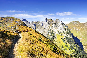 The geological hiking trail on Mt. Furgglenfirst from Mt. Stauberen to the Saxer Luecke pass in the Appenzell Alps, Canton Appenzell-Innerrhoden, Switzerland, Europe
