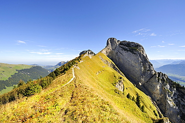 The geological hiking trail from Mt. Stauberen to the Saxer Luecke pass in the Appenzell Alps, Canton Appenzell-Innerrhoden, Switzerland, Europe