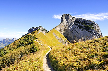 The geological hiking trail from the Saxer Luecke pass to Mt. Stauberen in the Appenzell Alps, Canton Appenzell-Innerrhoden, Switzerland, Europe
