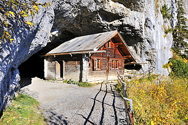 Reconstructed hermitage at the entrance of the prehistoric Baerenhoehle cave, Wildkirchli caves, Canton Appenzell-Innerrhoden, Switzerland, Europe