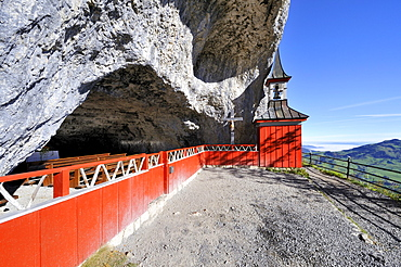 Historic chapel at the Altarhoehle cave, Wildkirchli caves, below the Ebenalp in the Alpstein mountains, Canton Appenzell-Innerrhoden, Switzerland, Europe