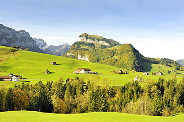 Views over the Alps at Bruelisau on the Ebenalp, in the back the Appenzell Alps, Canton Appenzell Inner-Rhodes, Switzerland, Europe