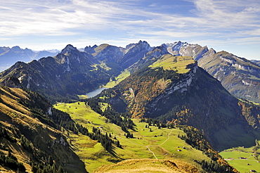 View from Mt. Kamor down to Alp Soll, in the back Lake Saemtisersee between the Appenzell Alps, Canton Appenzell Inner Rhodes, Switzerland, Europe