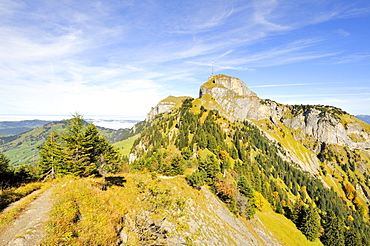 View from the geological hiking trail on the peak of Mt. Hoher Kasten in the Appenzell Alps, Appenzell Inner-Rhodes, Switzerland, Europe