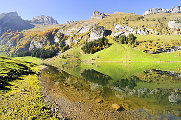View over Seealp Lake, at 1143 m altitude, Canton of Appenzell Inner-Rhodes, Switzerland, Europe