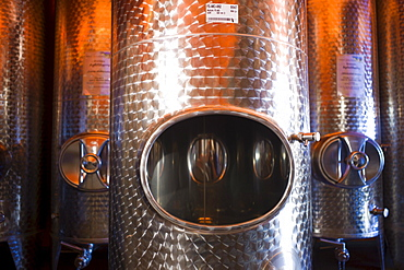 Empty and filled steel barrels for fermenting alcoholic beverages, Germany, Europe