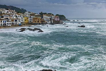 Holiday resort town of Calella de Palafrugell in winter during a storm, Calella de Palafrugell, Costa Brava, Spain, Europe