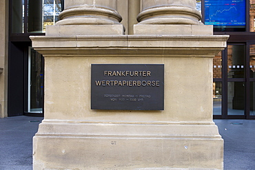Frankfurt Stock Exchange, sign, Frankfurt, Hessen, Germany, Europe