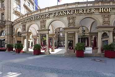 Luxury hotel, Steigenberger Frankfurter Hof, Kaiserstrasse, Terrace, Frankfurt, Hesse, Germany, Europe