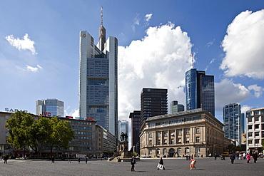 Rossmarkt square, Hessische Landesbank, in front of the Commerzbank Tower, Frankfurt, Hesse, Germany, Europe