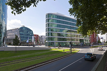 Office buildings beside Westhafen Tower, designed by the architects Schneider + Schumacher and OFB Project Development GmbH, winner of the German Urban Development Prize in 2004, Westhafen Square, Frankfurt am Main, Hesse, Germany, Europe