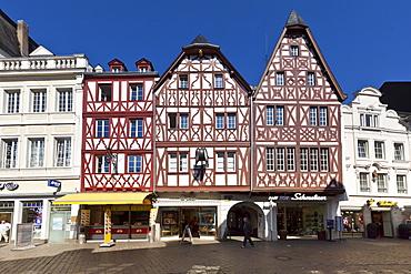 Half-timbered houses on Hauptmarkt square, Trier, Rhineland-Palatinate, Germany, Europe