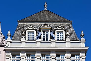 Decorative facade, Hauptmarkt square, Trier, Rhineland-Palatinate, Germany, Europe
