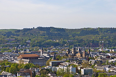 View over Trier with the Basilica of Constantine and the Cathedral, Trier, Rhineland-Palatinate, Germany, Europe