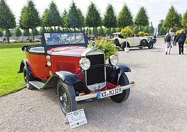 Opel cabriolet 12 C, built in 1929, Germany, Classic-Gala, Concours d'Elegance in the Baroque castle gardens, Schwetzingen, Baden-Wuerttemberg, Germany, Europe