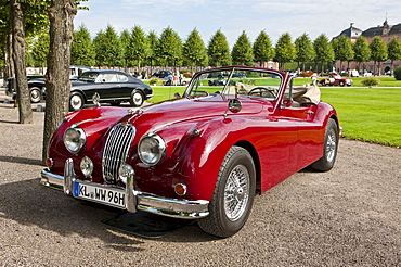 Jaguar XK 140 DHC, built in GB, Classic-Gala, Concours d'Elegance in the Baroque castle gardens, Schwetzingen, Baden-Wuerttemberg, Germany, Europe