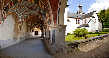 Cloister of Sayn Abbey, Sayn, Koblenz, Rhineland-Palatinate, Germany, Europe