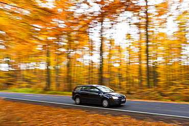 Car driving on a country road in autumn, Hesse, Germany, Europe