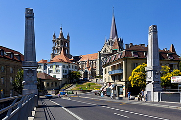 View from the Bessieres bridge on the Cathedral of Notre-Dame, former episcopal church of the diocese of Lausanne, now main Protestant church of the city of Lausanne, Canton Vaud, Lake Geneva, Switzerland, Europe