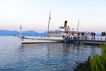 Old paddle-steamer as a ferry for tourists, docked at a wharf near Morges, Canton of Vaud, Lake Geneva, Switzerland, Europe