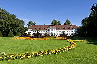 Looking through the park towards the Orangery in Kempten at the northern end of the Hofgarten, Kempten, Lower Allgaeu, Allgaeu, Swabia, Bavaria, Germany, Europe