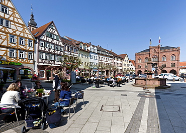 Marketplace and town hall, Tauberbischofsheim, Baden-Wuerttemberg, Germany, Europe