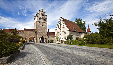 Noerdlinger Tor gate tower, old town, Dinkelsbuehl, Ansbach, Middle Franconia, Bavaria, Germany, Europe