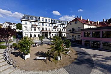Rehabilitation Clinic on the Kurpark, Kurgarten, spa garden, Bad Kissingen, Lower Franconia, Bavaria, Germany, Europe