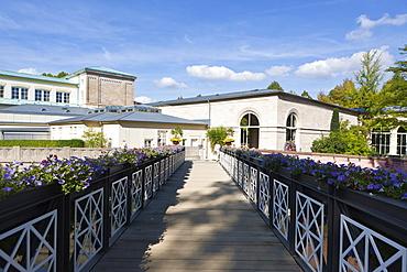Kurhaus spa hotel with the Regentenbau building and arcade halls, Bad Kissingen, Lower Franconia, Bavaria, Germany, Europe