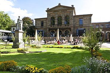 Statue of King Max II of Bavaria in front of the casino, Luitpold Casino, Kurgarten, spa garden, Bad Kissingen, Lower Franconia, Bavaria, Germany, Europe