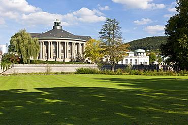 Kurhaus spa hotel with the Regentenbau building and arcade halls, Kurgarten, spa garden, Bad Kissingen, Lower Franconia, Bavaria, Germany, Europe
