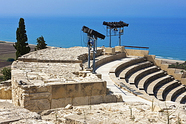 Ruins of Kourion, excavation site of ancient Kourion, Graeco-Roman amphitheatre, Odeon, Sanctuary of Apollo Hylates, Akrotiri peninsula, near Episkopi, southern Cyprus