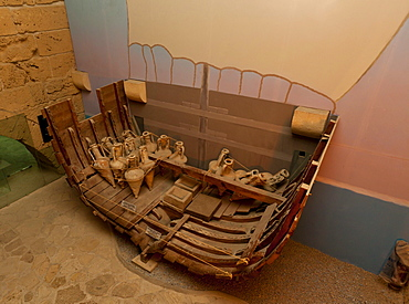 Shipwreck museum, Iron Age shipwreck, the Kyrenia Ship, dated 300 BC, interior view of Kyrenia Castle, Girne, northern Cyprus, Cyprus