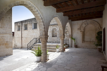Cloister of the monastery church Timiou Stavro, Omodos, Troodos Mountains, Central Cyprus