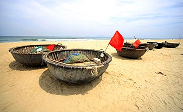 Beach and traditional fishing boats at Hoi An, North Vietnam, Vietnam, Asia