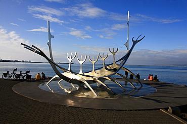 Solfar, Sun Voyager sculpture, Viking ship on the Snaebraut waterfront, Reykjavik, Iceland, Europe