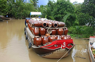 Cargo ship, Mekong delta, South Vietnam, Vietnam, Asia