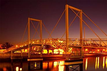 Illuminated flap bridge at night, Lagos, Algarve, Portugal, Europe