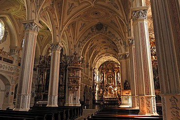 Nave of the Parish Church of St. Salvator and the Holy Cross, 1761-1766 restoration in the Rococo style, Kirchplatz 5, Polling, Upper Bavaria, Germany, Europe
