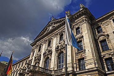 Main facade of the Palace of Justice with German flag, Prielmayerstrasse 7, Munich, Bavaria, Germany, Europe