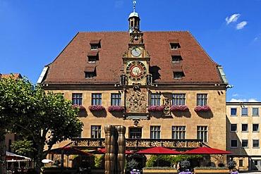 Historic Heilbronn town hall with the Kunstuhr clock, lunar clock, astronomical clock, Marktplatz 7, Heilbronn, Baden-Wuerttemberg, Germany, Europe