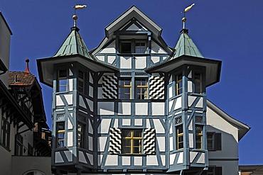 Ornate halt-timbered house, Gallusstrasse 20, St. Gallen, Switzerland, Europe